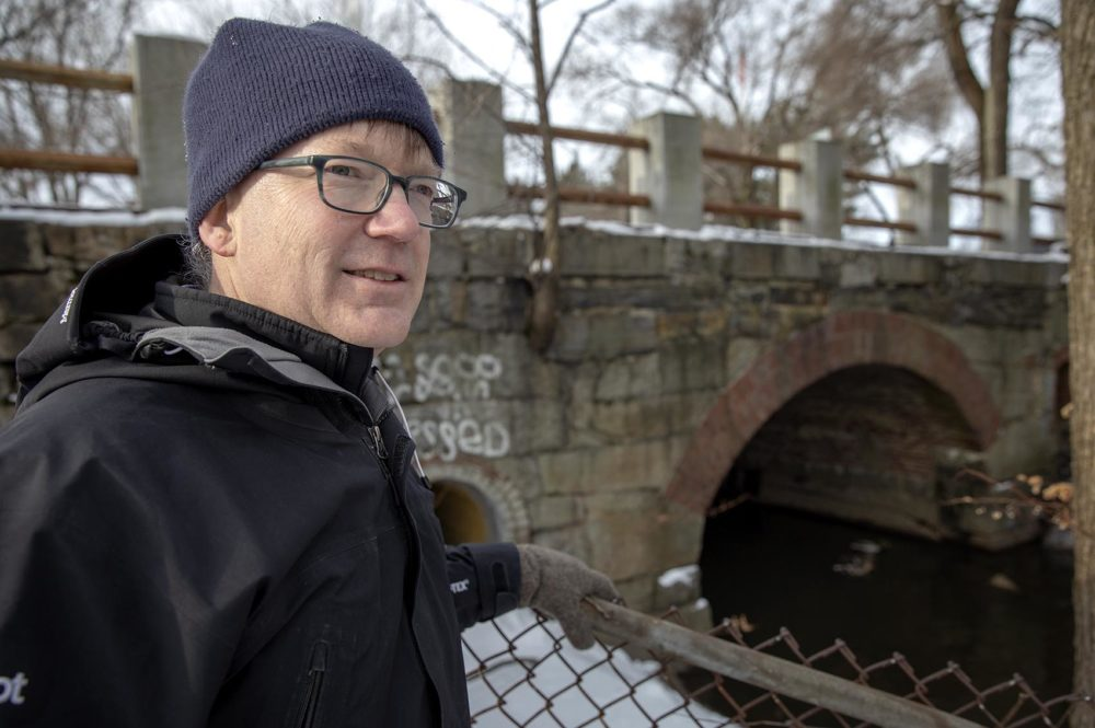 Patrick Herron, executive director of the Mystic River Watershed Association, stands by Cambridge's wet weather sewage discharge outfall CAM 002 on Alewife Brook. (Robin Lubbock/WBUR)