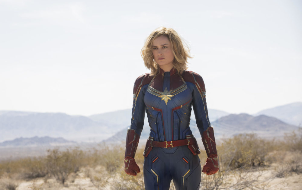 Brie Larson as Captain Marvel in the new movie. (Courtesy Chuck Zlotnick/Marvel Studios)