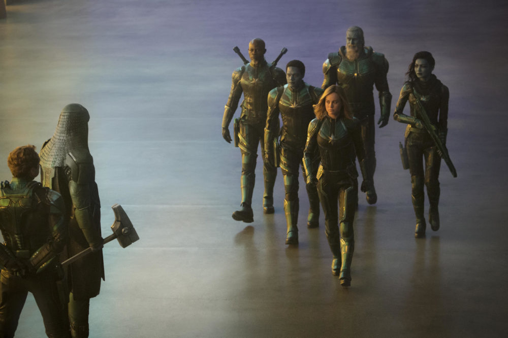 "Jude Law, Lee Pace, Djimon Hounsou, Algenis Perez Soto, Brie Larson, Rune Temte and Gemma Chan in ""Captain Marvel."" (Courtesy Chuck Zlotnick/Marvel Studios)"