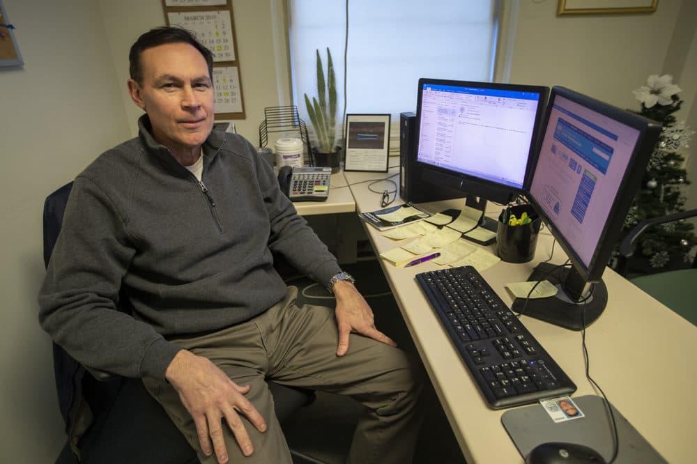Riga in his office at the Northampton VA Medical Center. (Jesse Costa/WBUR)