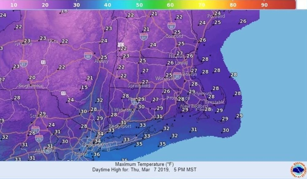 Temperatures across Massachusetts today will still be rather cold. (Courtesy National Weather Service)