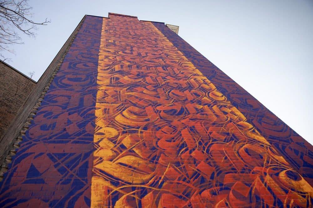 "Sneha Shrestha's mural ""For Cambridge With Love From Nepal"" in Cambridge. (Robin Lubbock/WBUR)"