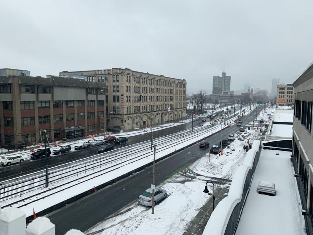 Snow blanketed Commonwealth Avenue in Boston on Sunday morning. (Laney Ruckstuhl/WBUR)