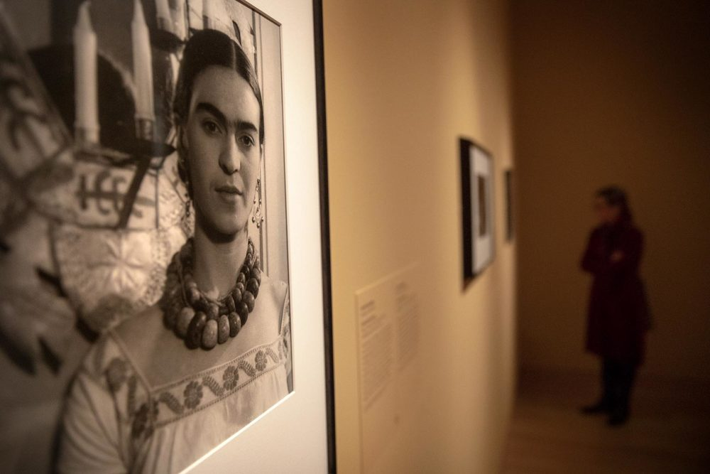 A photograph of Frida Kahlo at the MFA. (Robin Lubbock/WBUR)