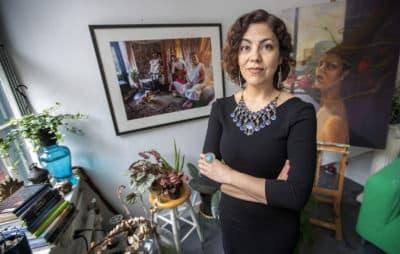 Artist and documentary filmmaker Rashin Fahandej in her Boston Center for the Arts studio in the South End. (Jesse Costa/WBUR)