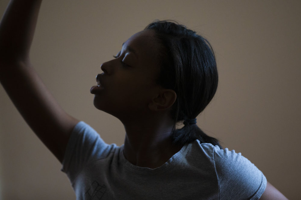 Ellice Patterson dances at her home in Brookline. (Jesse Costa/WBUR)