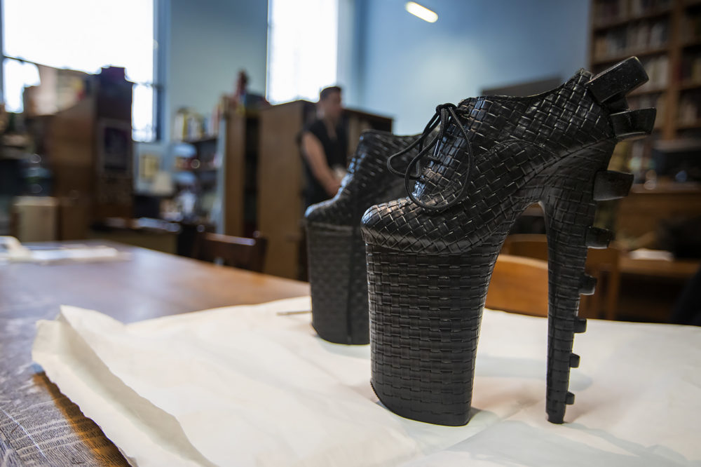 "These shoes designed by Thom Solo for Lady Gaga are part of the ""Gender Bending Fashion"" exhibition at the MFA Boston. (Jesse Costa/WBUR)"