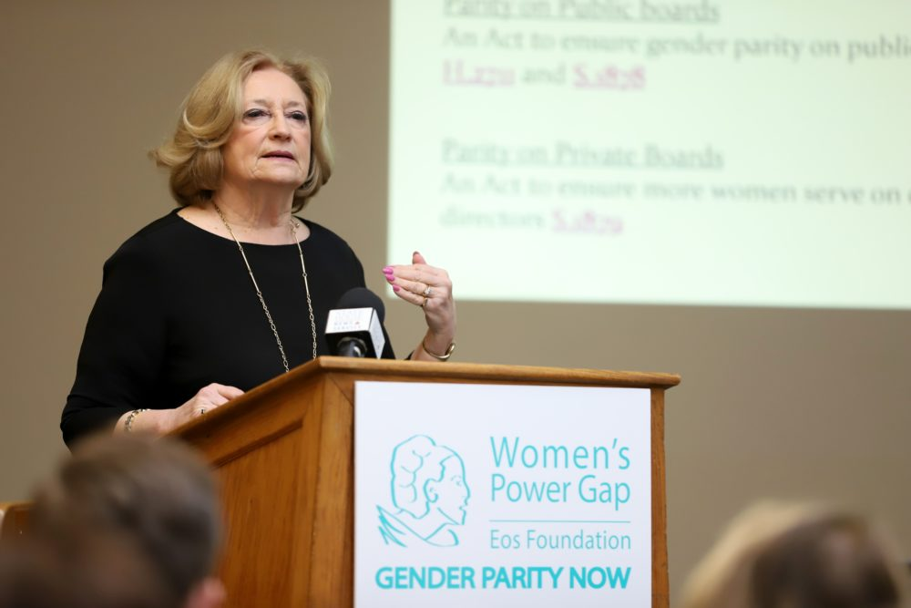 """We have a very strong obligation here, because it doesn't work unless it's deliberate,"" Rep. Patricia Haddad said Tuesday at a State House briefing calling for gender parity on public boards and commissions. (Sam Doran/SHNS)"