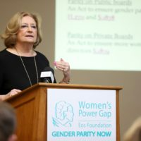 """""""We have a very strong obligation here, because it doesn't work unless it's deliberate,"""" Rep. Patricia Haddad said Tuesday at a State House briefing calling for gender parity on public boards and commissions. (Sam Doran/SHNS)"""