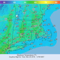 High temperatures are shown for March 20. (Courtesy National Weather Service)