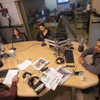 From left: Laurene Trio of Medford, Keri Rodrigues of Medford and Rodolfo Aguilar of Hyde Park speak with Bob Oakes in the studio. (Jesse Costa/WBUR)