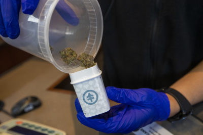 A NETA associate dispenses some of the Bruce Banner strain of cannabis at the Brookline dispensary. (Jesse Costa/WBUR)