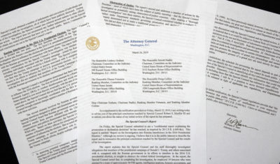 A copy of a letter from Attorney General William Barr advising Congress of the principal conclusions reached by Special Counsel Robert Mueller. (Jon Elswick/AP)