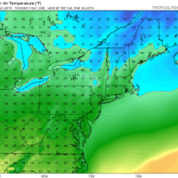 Highs Tuesday will barely reach 40 degrees. (Courtesy Tropical Tidbits)
