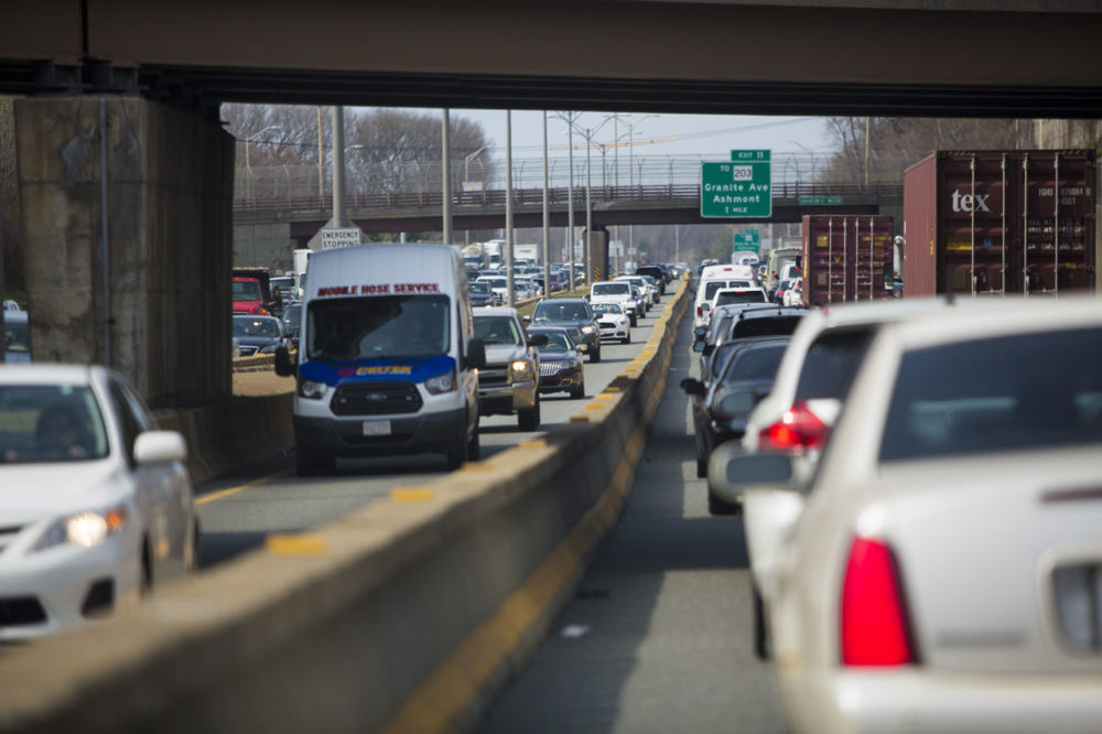 Early afternoon bumper-to-bumper traffic on 93 in Milton (Jesse Costa/WBUR)