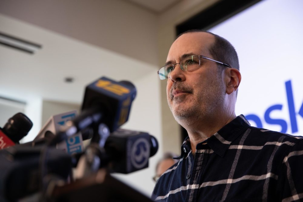David Wheeler, whose son Ben was killed at Sandy Hook, speaks at a press conference after the Connecticut Supreme Court ruling. (Ryan Caron King/WNPR)
