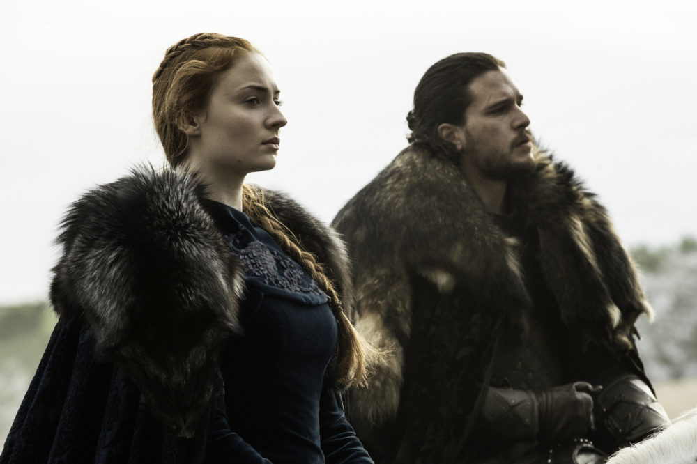"Sophie Turner and Kit Harington in ""Game Of Thrones. (Helen Sloan/courtesy of HBO)"