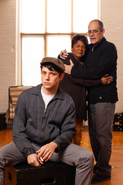 "Raviv Ullman, Tina Fabrique and Joel Colodner in Merrimack Repertory Theatre's ""The Haunted Life."" (Courtesy Meghan Moore)"