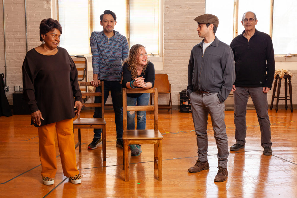 "Actors Tina Fabrique, Vichet Chum, Caroline Neff, Raviv Ullman and Joel Colodner of Merrimack Repertory Theatre's ""The Haunted Life."" (Courtesy Meghan Moore)"