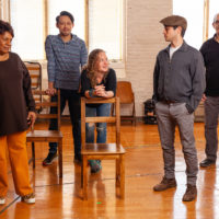 "Actors Tina Fabrique, Vichet Chum, Caroline Neff, Raviv Ullman and Joel Colodner of Merrimack Repertory Theatre's ""The Haunted Life."" (Courtesy Meghan Moore)"