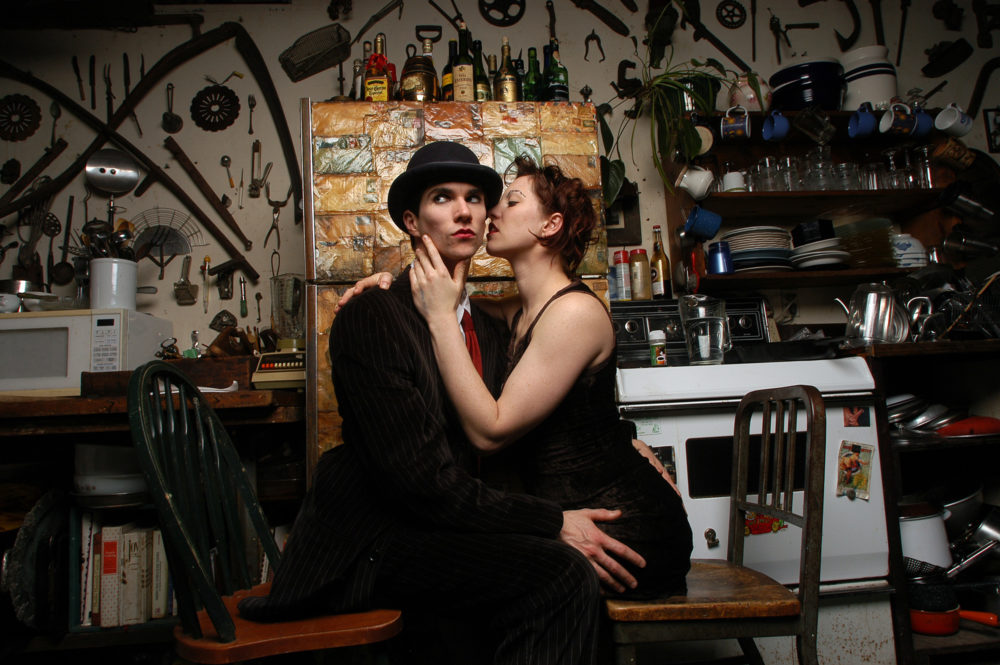 Brian Vigione and Amanda Palmer pose as The Dresden Dolls in a loft in Williamsburg Brooklyn on Feb. 10, 2005. (Jim Cooper/AP)