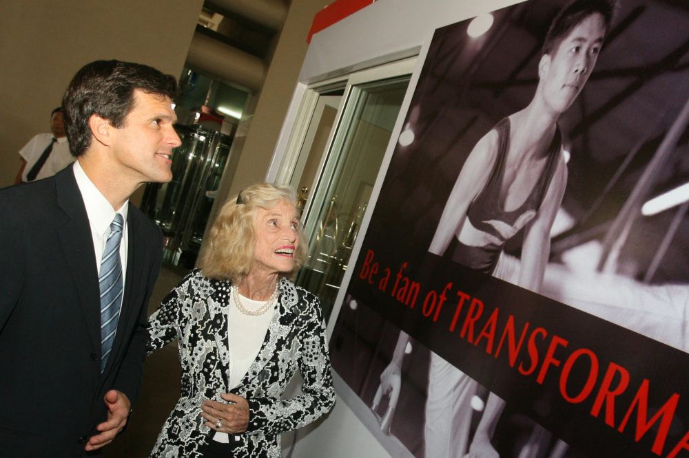The Chairman of Special Olympics, Timothy P. Shriver, left, and his mother Eunice Kennedy Shriver, who is the founder of the event, look at a poster before the opening ceremony of the Special Olympics in Shanghai on Tuesday October 2, 2007. (Mark Ralston/AP)