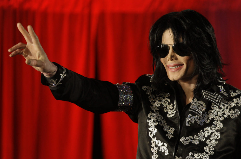 Singer Michael Jackson in March 2009, when he announced that he would play ten live concerts at the London O2 Arena in July, speaking at the venue itself in south London. Jackson died in June 2009. (Joel Ryan/AP)