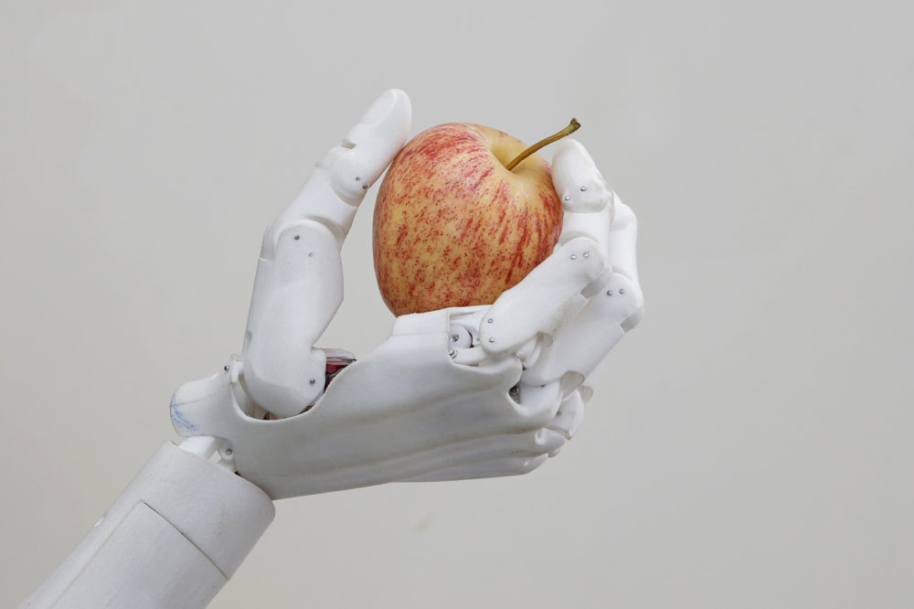 Hanson Robotics' flagship robot Sophia, a lifelike robot powered by artificial intelligence, holds an apple in Hong Kong. (Kin Cheung/AP)