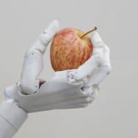 Hanson Robotics' flagship robot Sophia, a lifelike robot powered by artificial intelligence, holds an apple in Hong Kong. (Kin Cheung/AP)