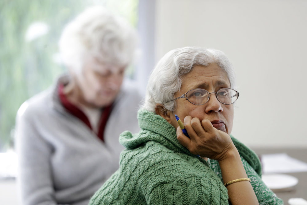 Sara Dhamija, right, listens to a teacher during an anti-bullying class at the On Lok 30th Street Senior Center in San Francisco, April 13, 2018. (Marcio Jose Sanchez/AP)