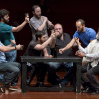 """Steven Skybell, right, as Tevye, rehearses with the National Yiddish Theatre Folksbiene cast of a Yiddish-language version of """"Fiddler on the Roof,"""" at the at the Museum of Jewish Heritage in New York on June 19, 2018. (Richard Drew/AP)"""
