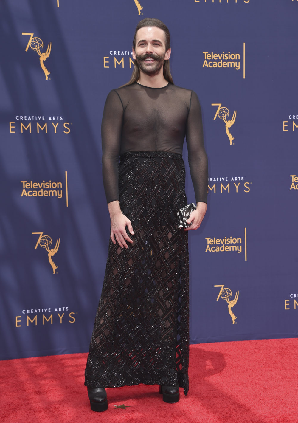 Jonathan Van Ness arrives at night two of the Creative Arts Emmy Awards on Sunday, Sept. 9, 2018, in Los Angeles. (Richard Shotwell/Invision/AP)