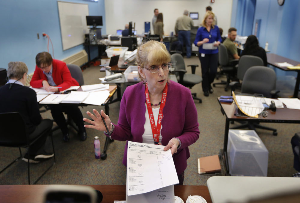Deputy Secretary of State Julie Flynn briefs campaign observers during ballot-tabulation process for Maine's Second Congressional District's House election Nov. 12, 2018, in Augusta. The election was the first congressional race in American history to be decided by the ranked-choice voting method that allows second choices. (Robert F. Bukaty/AP)