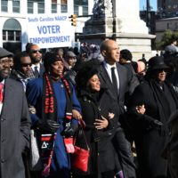 Sen. Cory Booker, pictured on Jan. 14, 2019 in South Carolina, is one of several Democratic presidential candidates who have embraced the idea of reparations. (Meg Kinnard/AP)