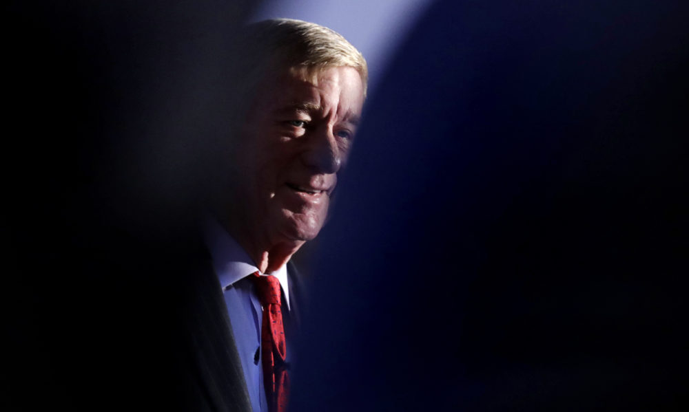 Former Massachusetts Gov. William Weld listens to guests during a New England Council 'Politics & Eggs' breakfast in Bedford, N.H., Friday, Feb. 15, 2019.  (Charles Krupa/AP)