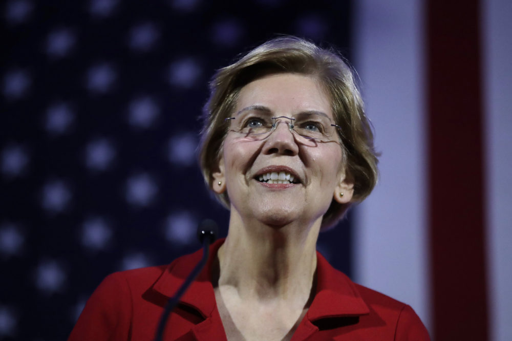 In this Feb. 22, 2019, photo, Democratic presidential candidate Sen. Elizabeth Warren, D-Mass., speaks at the New Hampshire Democratic Party's 60th Annual McIntyre-Shaheen 100 Club Dinner in Manchester, N.H. (Elise Amendola/AP)