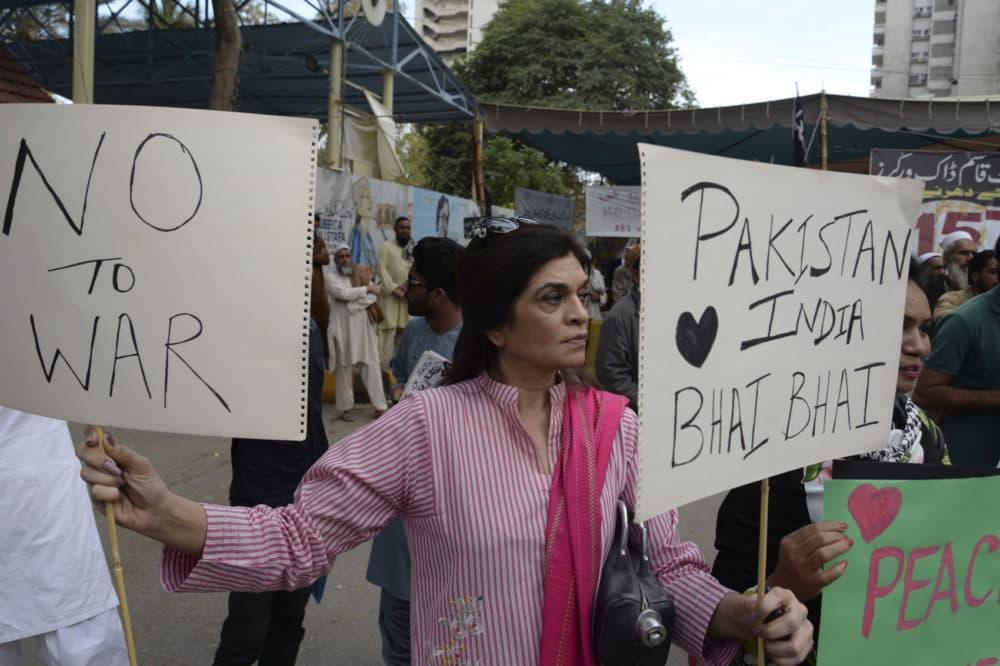 A Pakistani peace activist attends an anti-war rally in Karachi, Pakistan, Thursday, Feb. 28, 2019. (Muhammad Rizwan/AP)