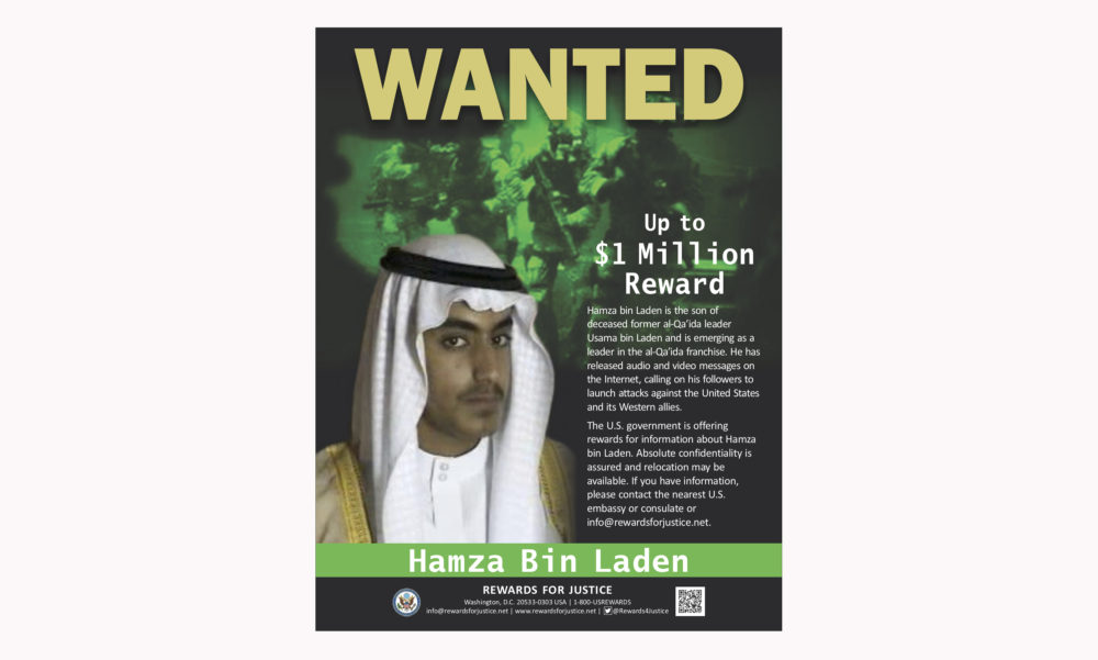 This wanted poster released by the U.S. Department of State Rewards for Justice program shows Hamza bin Laden. Saudi Arabia announced Friday, March 1, 2019 it had revoked the citizenship of bin Laden, the son of the late al-Qaida leader. (Rewards for Justice via AP)