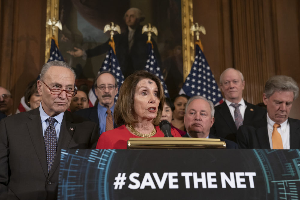 "Democratic House and Senate leaders announce the ""Save The Internet Act"" on Wednesday on Capitol Hill. (J. Scott Applewhite/AP)"