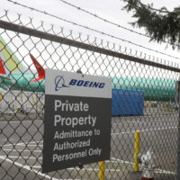 A Boeing 737 MAX 8 being built for for Shanghai Airlines sits parked at Boeing Co.'s Renton Assembly Plant, Monday, March 11, 2019, in Renton, Wash. (Ted S. Warren/AP)