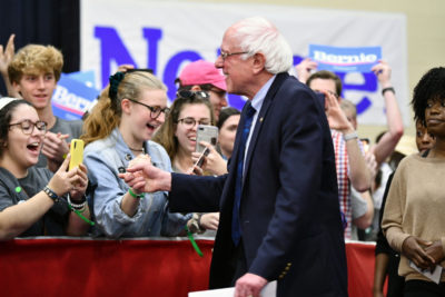 Sen. Bernie Sanders greets supporters in North Charleston, S.C., Thursday, March 14, 2019. (Meg Kinnard/AP)