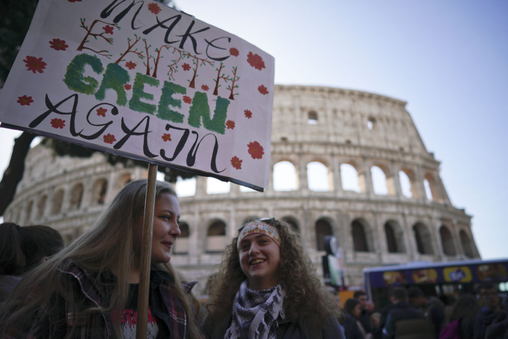 Students in Rome gather in front of the ancient Colosseum in protest to demand action on climate change on Friday, March 15, 2019. (Andrew Medichini/AP)