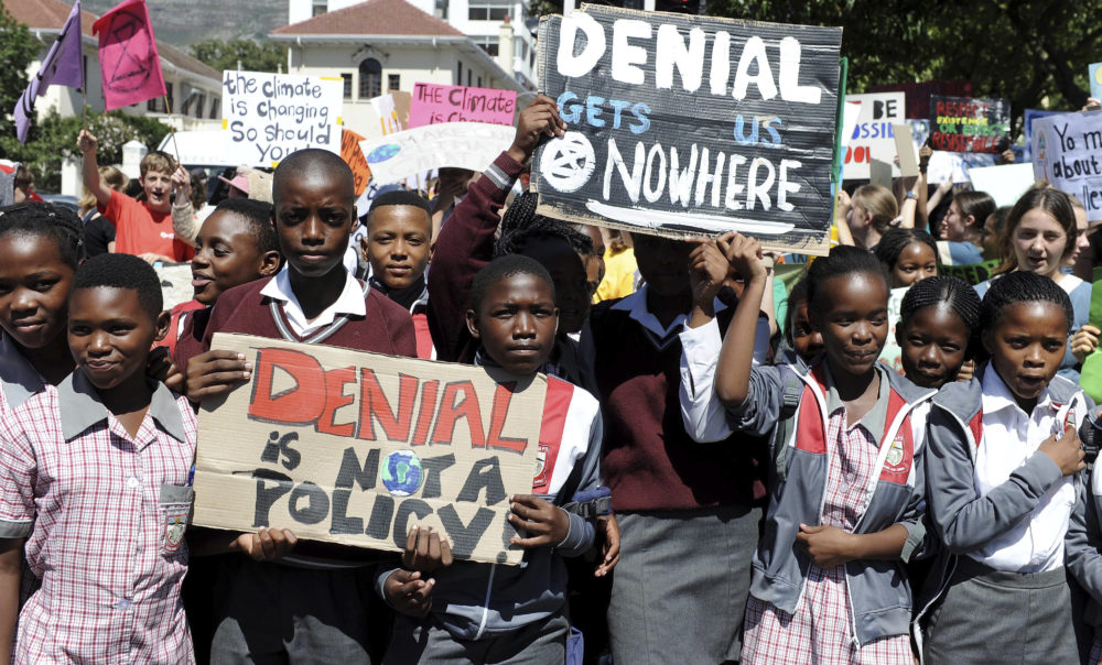 Students in Cape Town, South Africa take part in a protest, Friday, March 15, 2019 as part of a global student strike against government inaction on climate change. (Nasief Manie/AP)