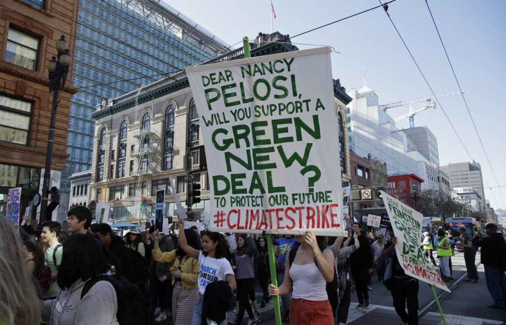 Students march along Market Street in San Francisco during a protest against climate change Friday, March 15, 2019. (Ben Margot/AP)