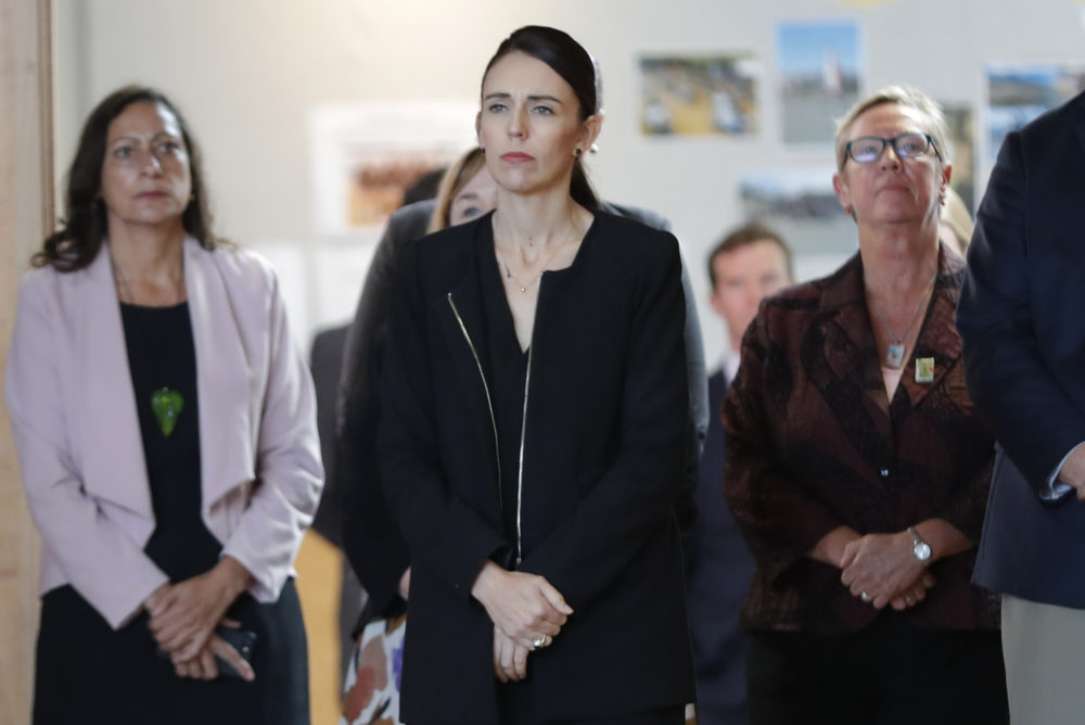 New Zealand's Prime Minister Jacinda Ardern, second from right, arrives during a high school visit in Christchurch, New Zealand, Wednesday, March 20, 2019. (Vincent Thian/AP)
