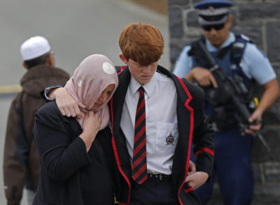 Mourners leave the cemetery after the burial service for a victim of the Friday March 15 mosque shootings at the Memorial Park Cemetery in Christchurch, New Zealand, Thursday, March 21, 2019. (Vincent Yu/AP)