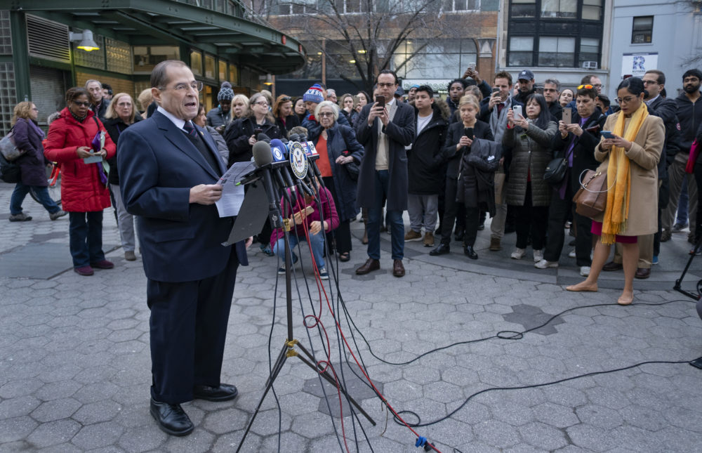 House Judiciary Committee Chairman Jerrold Nadler, D-N.Y, speaks during a news conference in an Upper West Side neighborhood of New York Sunday, March 24, 2019. (Craig Ruttle/AP)