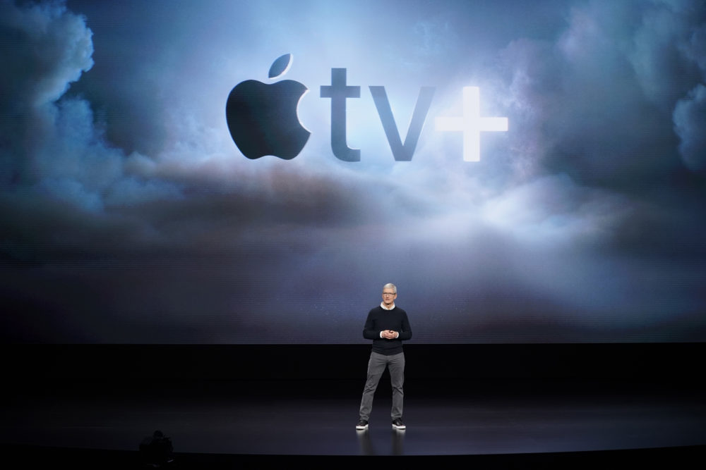 Apple CEO Tim Cook speaks at the Steve Jobs Theater during an event to announce new products Monday, March 25, 2019, in Cupertino, Calif. (Tony Avelar/AP)