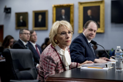 Education Secretary Betsy DeVos at a House Appropriations subcommittee hearing on budget on Capitol Hill in Washington, Tuesday, March 26, 2019. (Andrew Harnik/AP)
