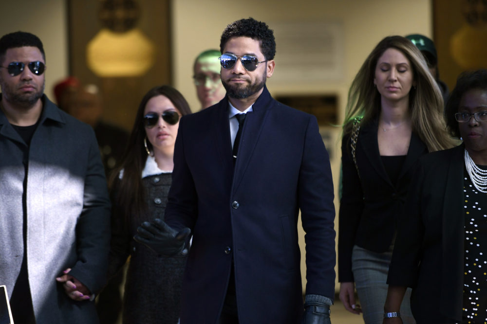 Actor Jussie Smollett gestures as he leaves Cook County Court after his charges were dropped Tuesday, March 26, 2019, in Chicago. (Paul Beaty/AP)